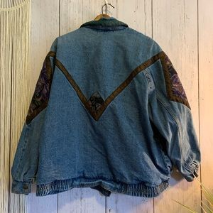Vintage Jackets & Coats - Vintage Current Seen Floral Tapestry Denim Jacket